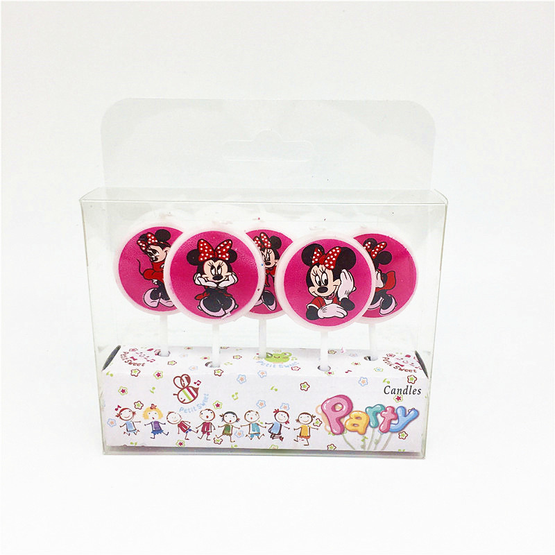 5Pcs/Pack Minnie Mouse Kids Birthday Decor Cartoon Candles Kids Girls Cake Bougie Accessories Party Supplies