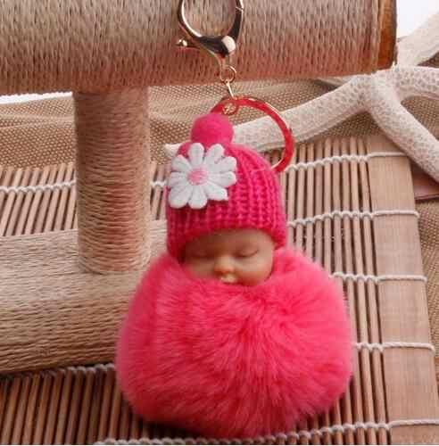 Dropshipping bonito dormir bebê boneca chaveiros para as mulheres saco de brinquedo chaveiro fofo pom pom pele do falso pelúcia chaveiros