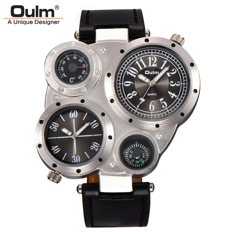 Oulm Two Time Zone Men Sport Watches Decorated Thermometer Compass Casual PU Leather Watch Male Quartz Clock relogio masculino oulm new arrive double time zone sports watches men luxury brand pu leather big wristwatch male quartz watch relojes hombre