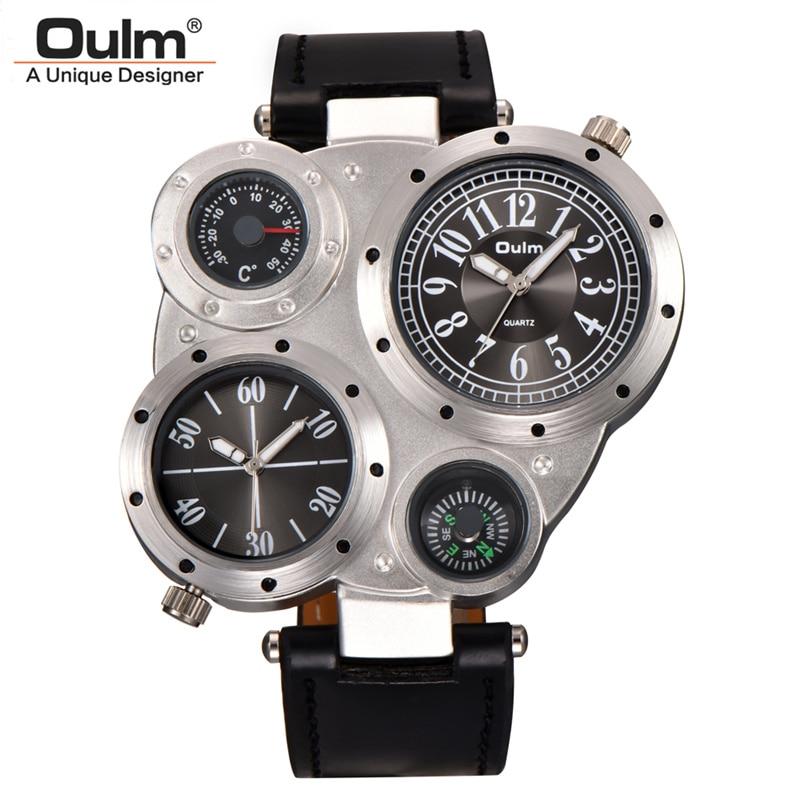 e8918fd93c3 Oulm Two Time Zone Relógios Termômetro Bússola Decorado Casual PU de Couro  Dos Homens Do Esporte Relógio de Quartzo Masculino Relógio relogio  masculino em ...
