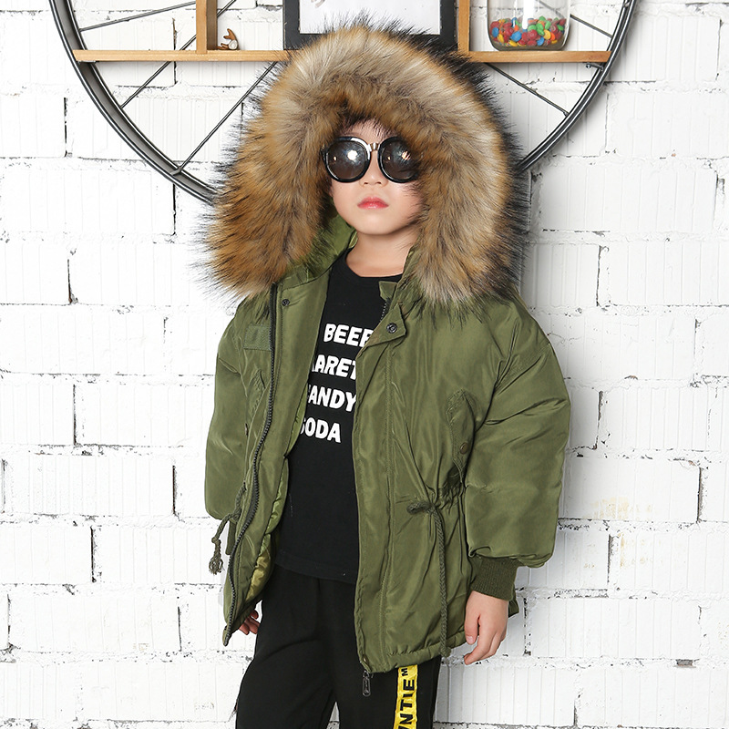 Winter Coat For Boys Real Fur Hooded Children's Down Jacket Army Green Boy's Parkas Coat Outdoor Kids Warm Snowsuit TZ337 army green hooded design elastic straps coat