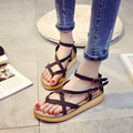 2016 summer female gladiator thick muffin bottom sandals platform thong cross strap buckle rubber students girls sandals shoes