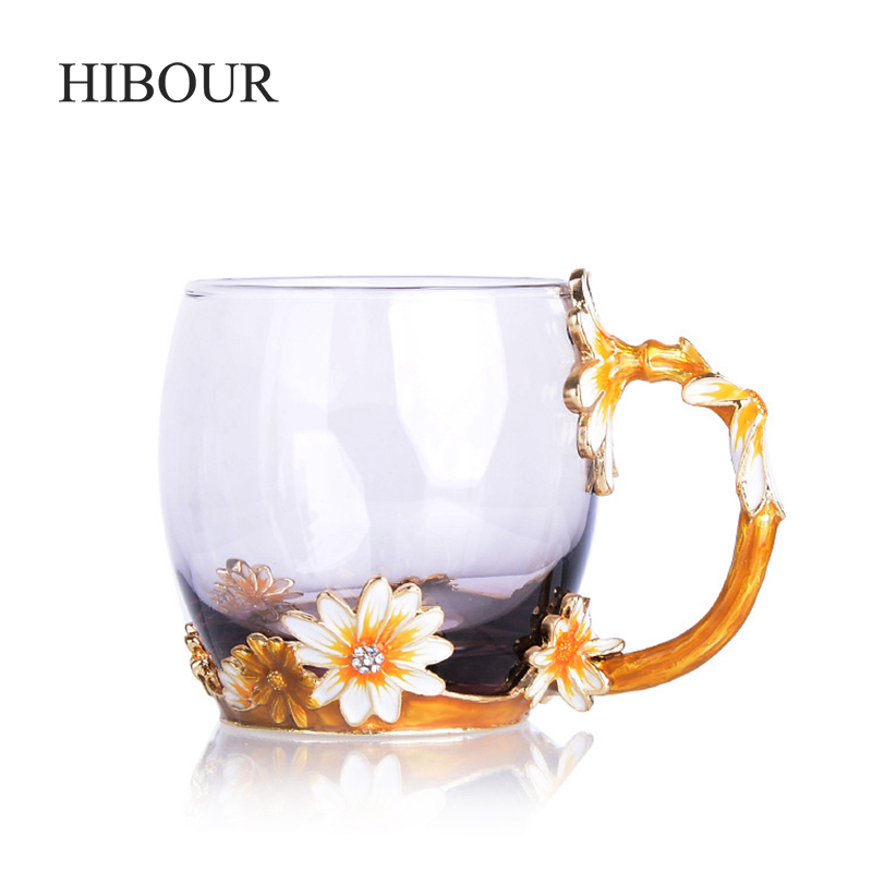 HIBOUR Yellow Chrysanthemum Creative Novelty Enamel Coffee Cup Mug Flower Tea Glass Cups for Hot and