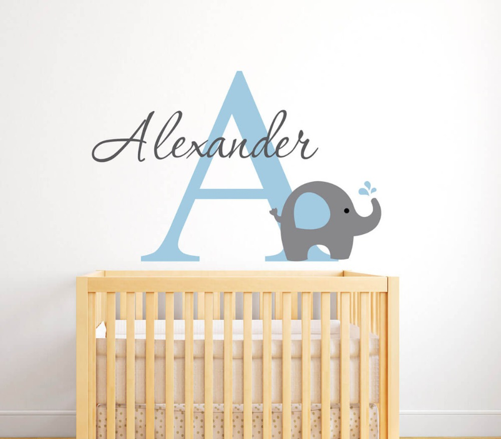 Elephant with Baby Boys Name Nursery Wall Decal Elephant Custom Name Nursery Wall Sticker for Kids Room 787C