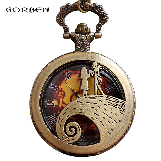 Vintage Retro Pocket Watch Carving Anime Nightmare Before Christmas Necklace Cha