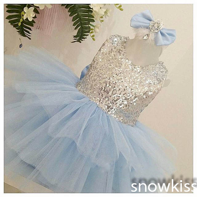 New light blue sequined flower girl dresses with bow short scoop neckline sleeveless wedding birthday parties kids ball gowns bow sleeve v neckline blouse