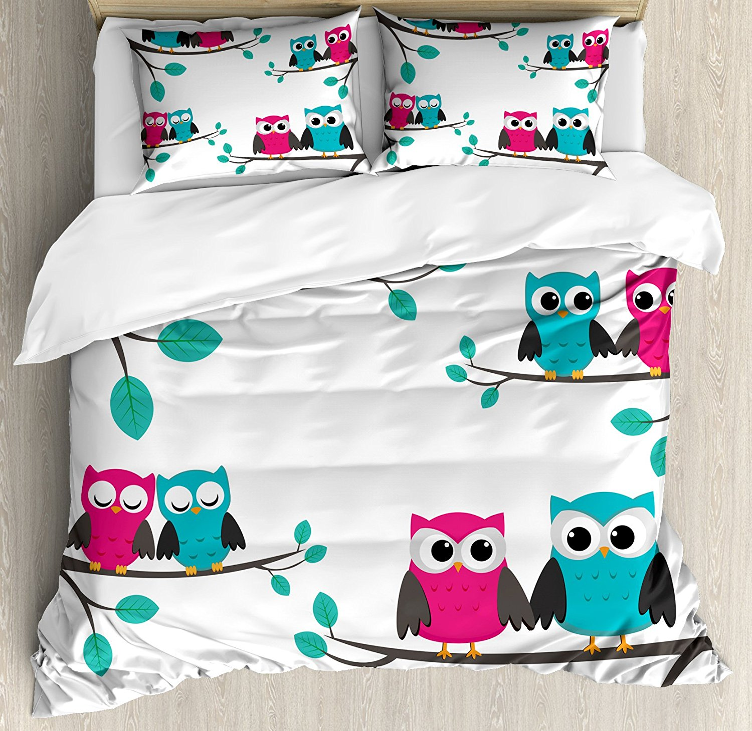 Nursery Duvet Cover Set Couples Of Owls Sitting On Spring Branches Cute Funny Cartoon Characters Bedding Set Turquoise Blue Pink