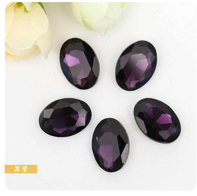 Deep purple oval-shaped Pointed bottom crystal rhinestone apply to Clothing Decoration DIY Wedding dress jewelry and Watch 20pcs