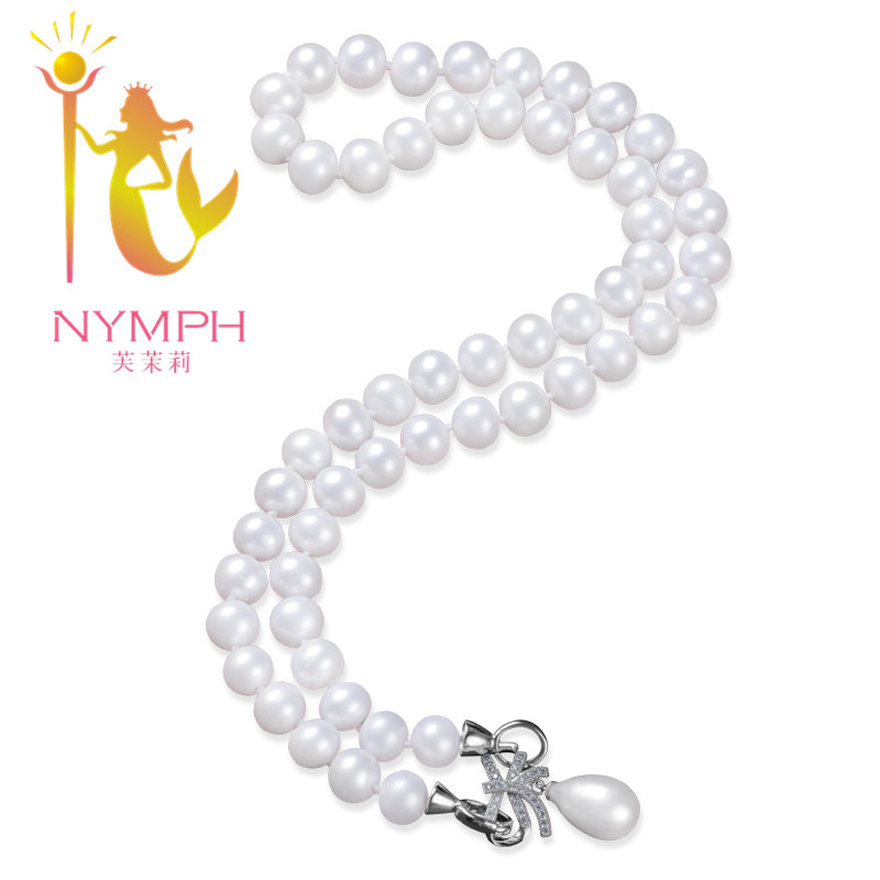 NYMPH Pearl Necklace Fine Pearl Jewelry  8-9MM Freshwater Pearl Necklace Pendant Necklaces 45CM : 91lifestyle