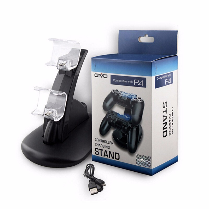 New Black Dual USB Charging Dock Stand Support Holder Charger For Playstation 4 PS4 Game Wireless Controller Accessories
