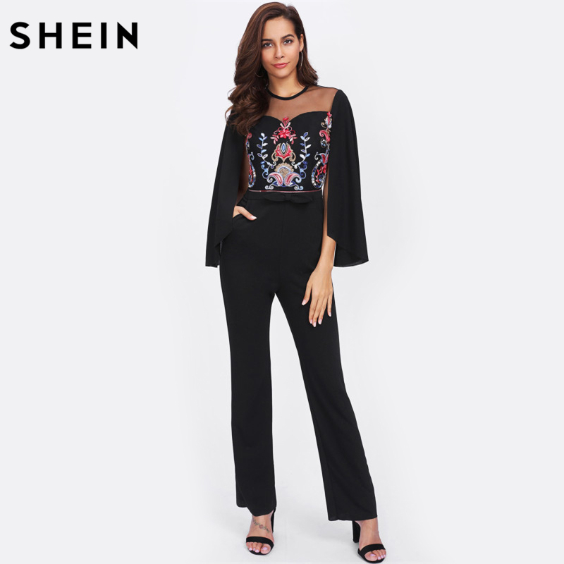 SHEIN Cape Sleeve Contrast Mesh Insert Embroidered Tailored Jumpsuit Black Mid Waist Skinny Long Sleeve Jumpsuit mesh insert jumpsuit