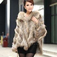 VK0033 Lady Fashion Genuine Knitted Rabbit Fur Shawl with Hoody Women Fur Pullover Female Pashmina Wraps