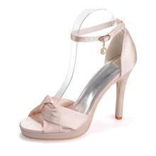 Sweet soft satin cross tie woman shoes sandals ankle strap stiletto heels platform satin champagne silver pink white ivory bow