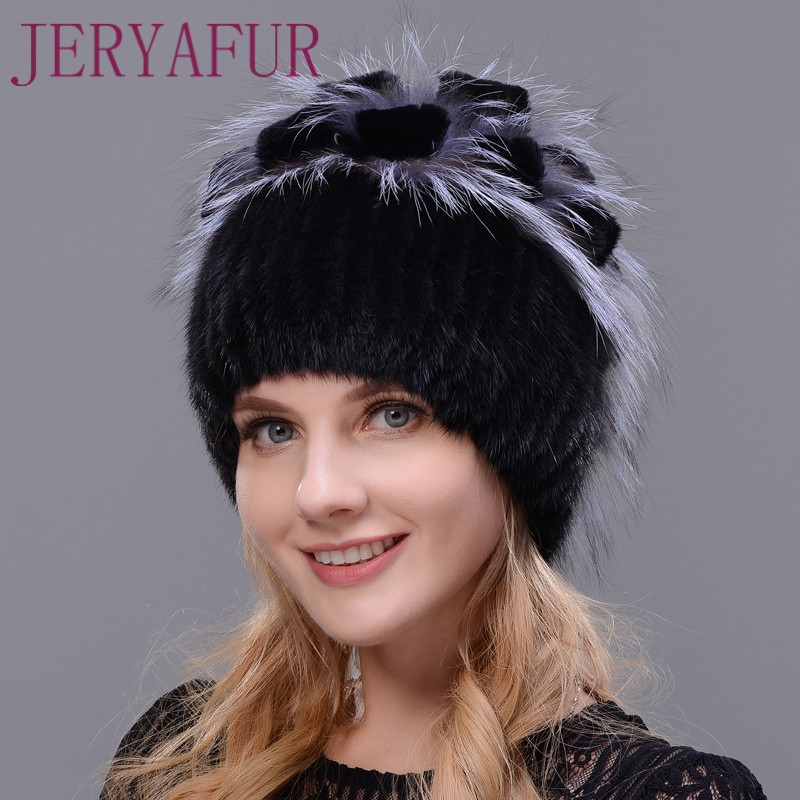 Women s fur hat for winter naturally rabbit rex fox fur hat Russian female fur headwear