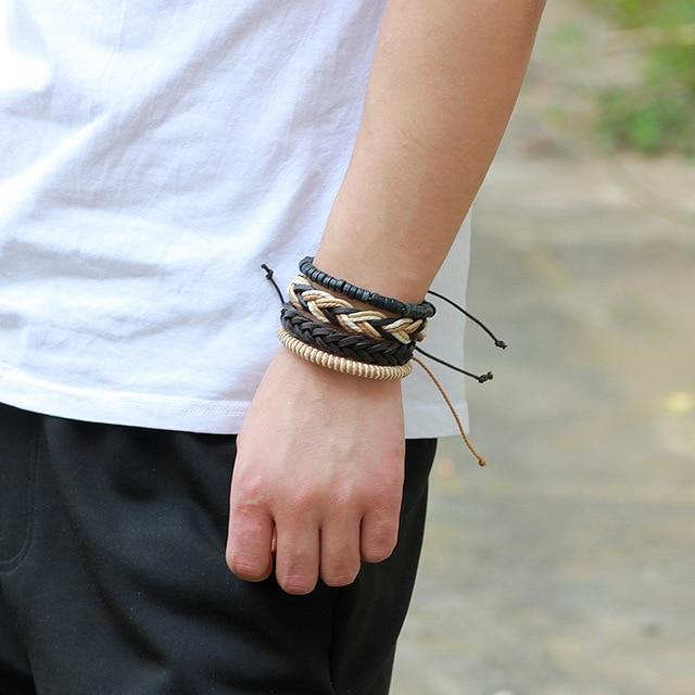 3,4,5pcs/set Series Boho Gypsy Hippie Punk Leather Wooden Beads Layers Bracelets 5