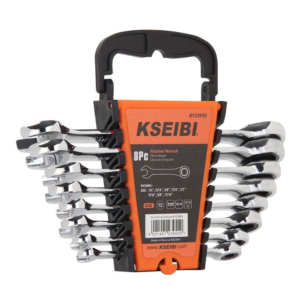 KSEIBI 8Pcs Ratcheting Combination Wrench, CRV American Standard SAE Torque Wrench - 12-point rings. 72-tooth ratchet action ratcheting wrench