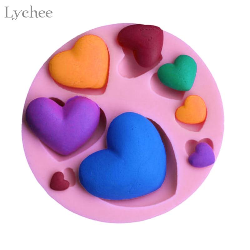 Lychee Love Heart Shape Silicone Mould Wedding Cake Decorating Tools Fondant Cake Chocolate Mold
