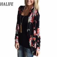HALIFE Sweater Women Cardigan 2017 Lady Female Knitted Long Sleeve Thin Boho Floral Printed Large Plus