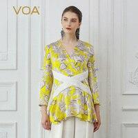 VOA желтый шелк футболка V шеи Boho Цветочный принт Для женщин топы Роскошные дамы пляжная одежда милый пуловер Повседневное Футболка Harajuku B833