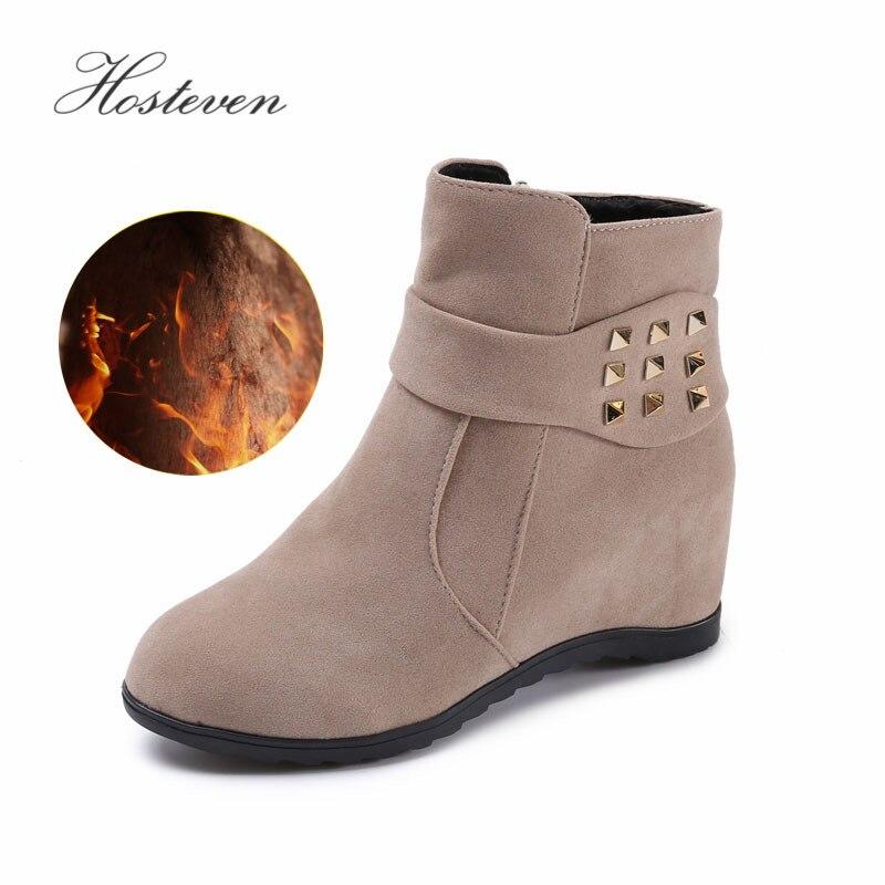 Hosteven Women Snow Boots Casual Plush Fur Winter Autumn Warm Mother Ladies Students Shoes Cotton Boots Female Shoes