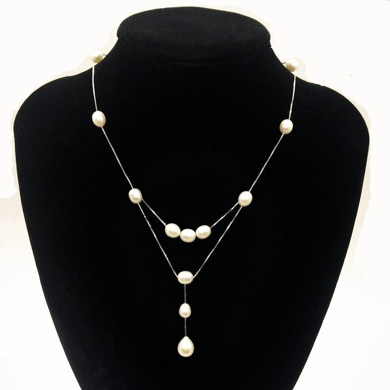 modni dizajn stvarnog 925 srebra od prirodnog bisera žene ogrlica od - Fine nakit - Foto 1