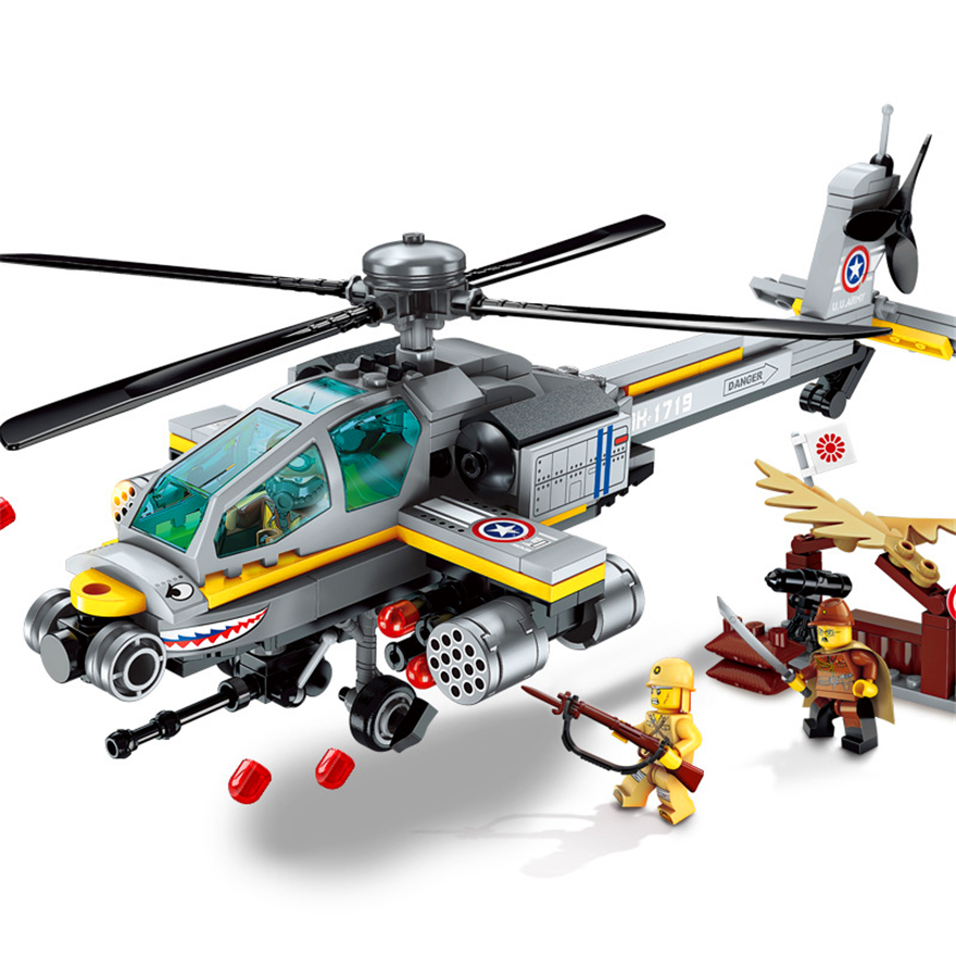 1719 280P Military Helicopter Constructor Model Kit Blocks Compatible LEGO Bricks Toys For Boys Girls Children Modeling