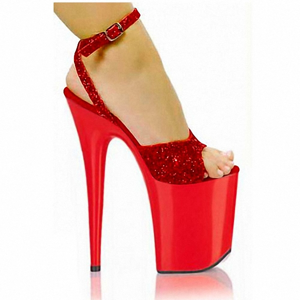 ФОТО Plus size shoes 5 - 12 red paillette wedding shoes 20cm ultrafine high-heeled shoes 8 Inch High Heel High Corset Platform Shoes
