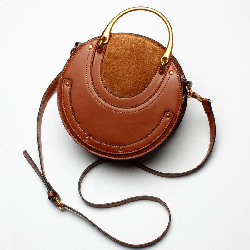 2017 fashion women genuine leather handbags circular bag Retro metal handbag round bag Female Shoulder Messenger Crossbody Bags