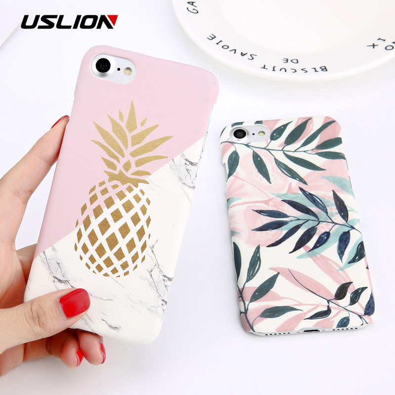 USLION Flower Leaf Print Phone Case For IPhone 7 Plus XR XS Max Pineapple Marble Hard