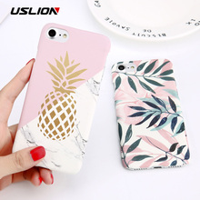 USLION Flower Leaf Print Phone Case For iPhone 7 Plus XR XS Max Pineapple Marble Hard PC Cover Cases For iPhone X 8 6 Plus 5 SE