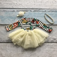 New Baby Girls Clothing Girls Cotton Striped Floral Party Bow Dress Girls Party Dress Milk Silk