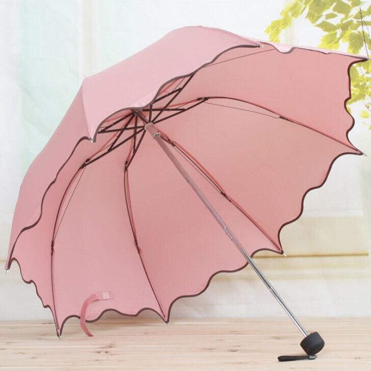 Für Frauen Regen Regenschirm 4 Falten Weiblich Regenschirme Griff Komfortabel Dringend Marke Prinzessin Handwerk 92 cm Im Freien Reise