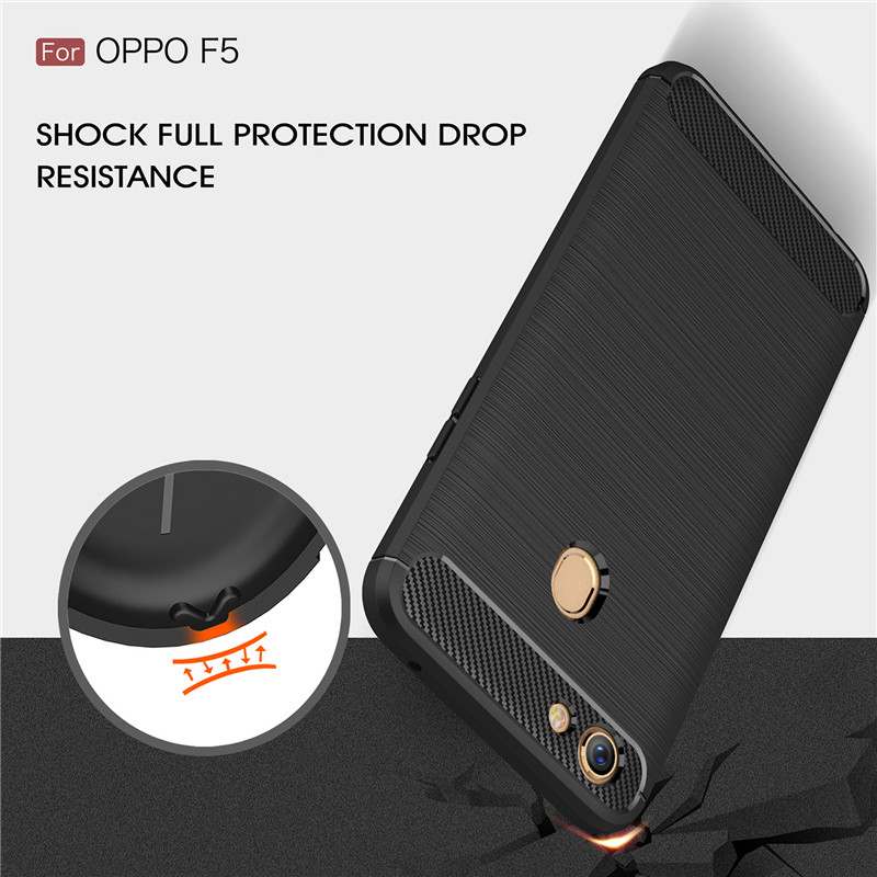 For OPPO F5 / A73 case Luxury Carbon Fiber TPU Drawing Material Back Cover for OPPO F3 / A77 Shockproof Phone Coque Fundas