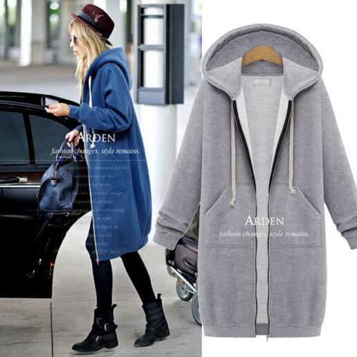 2016 New Brand Women Hoodies Casual Women Long Sleeve Zip up Solid Color Zipper Outwear Sweatshirts Female Autumn Coat Streetwea