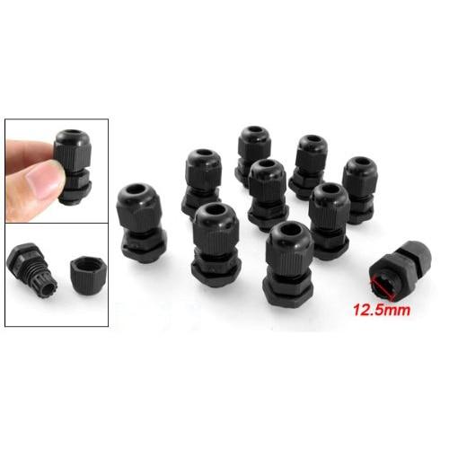 Promotion! PG7 Black Plastic Waterproof Cable Glands Joints 10 Pcs