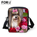 FORUDESIGNS Brand Designer Women Messenger Bags Dog Printing Girls Ladies Cross Body Bag Cute York Dog Crossbody Bag for Woman