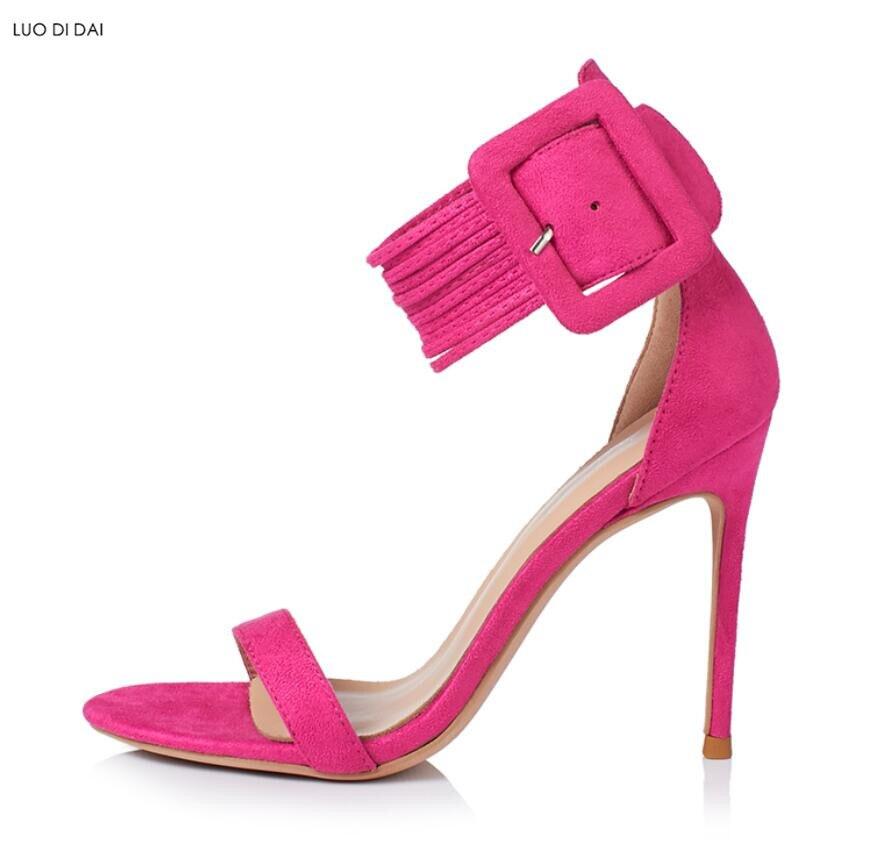 3531ffbe024bd2 Noir Femmes Talon Boucle Cheville À rose 2018 Mariage rouge De bleu rose  Rose Partie Rouge Sangle Chaussures Bout Gladiateur Ouvert Chaud Sandales  ...
