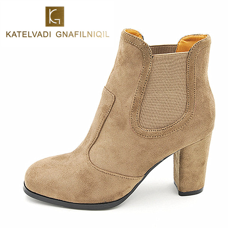 8 CM High Heels Boots Women Autumn Winter Boots Fashion Beige Flack Boots Woman Round Toe Boots Shoes For Women Big Size K-073 enmayla ankle boots for women low heels autumn and winter boots shoes woman large size 34 43 round toe motorcycle boots