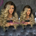 Hot!!! Ombre color synthetic lace front wig heavy density deep body wave lace front wig glueless for black women free shipping