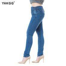 Здесь можно купить  2017YHKGG New Cotton Denim High Waisted Women Jeans Female Washed Casual Pants Full Length Skinny Jeanses Plus Size