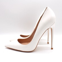 Free shipping fashion women Pumps white patent leather Pointy toe high heels shoes size33-43 12cm 10cm 8cm Stiletto heeled