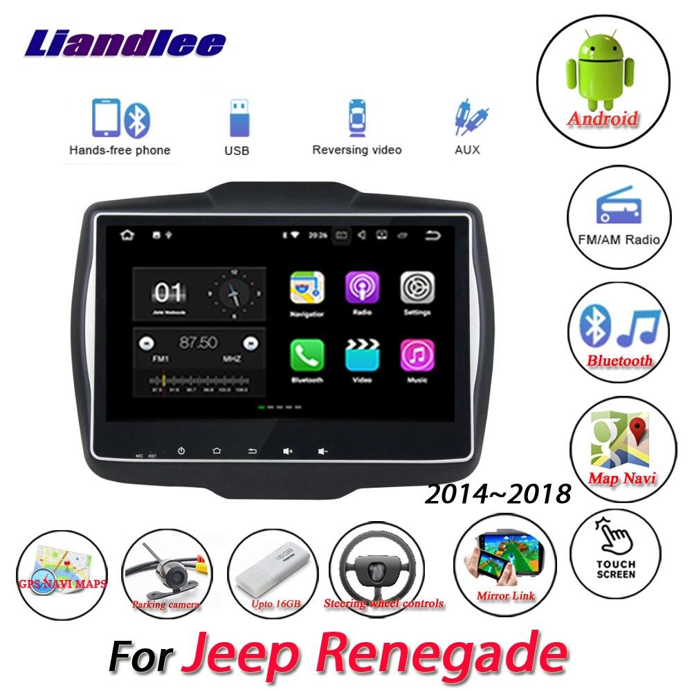 Liandlee Voiture Android Système Pour Jeep Renegade 2014 ~ 2018 Radio AUX miroir lien GPS Navi Navigation HD Stéréo Multimédia No CD DVD