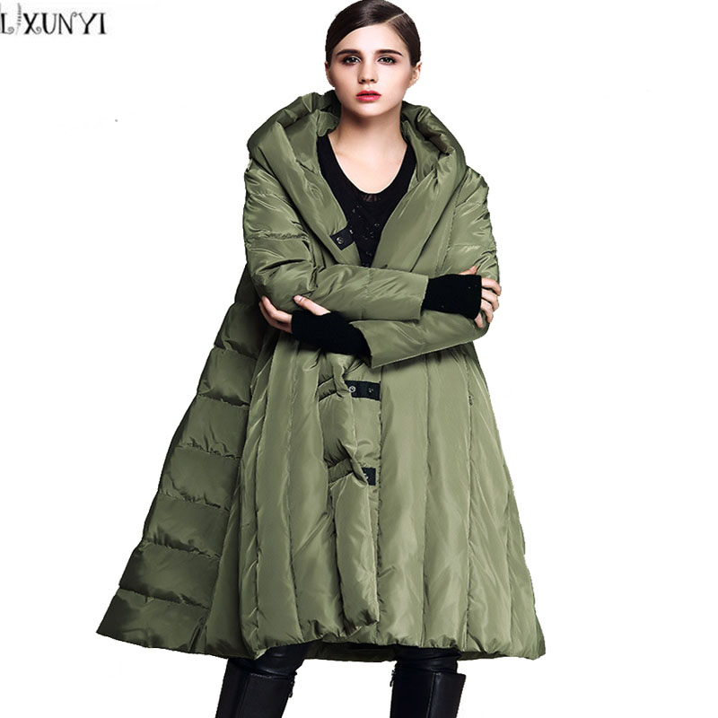 2017 Winter Coat Women European Style Womens Down jackets With Hood Brands loose  Warm Cloak Parkas Feather hot sale butterfly and flower pattern feather pendant loose cloak coat poncho cape for women