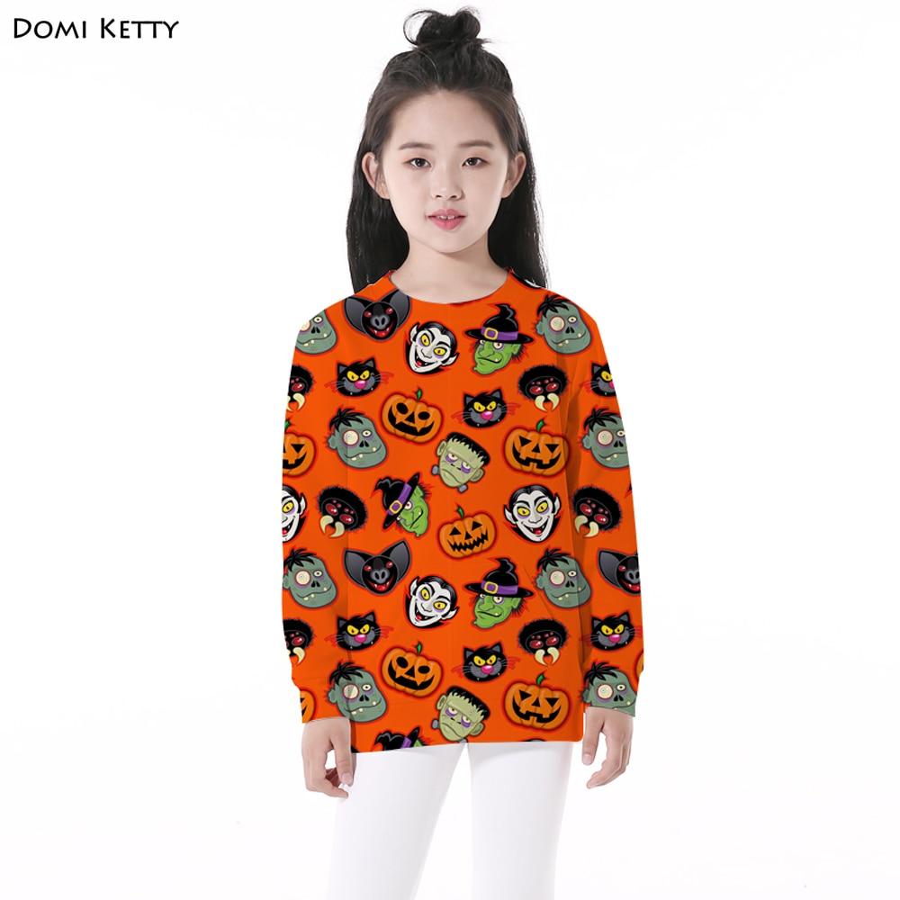 Domi Ketty children hoodies print Pumpkin monster girls boy casual long sleeve sweatshirts kids Halloween Party pullover costume plus size halloween pumpkin long sleeve tee dress