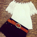 Fashion Summer Lace Crochet Off Shoulder Chiffon Shirt Casual Tops Blouse AT8