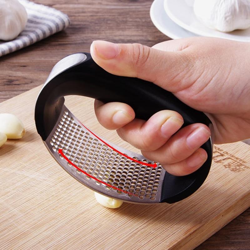 Acier inoxydable ail presse métal gingembre ail Chopper concasseur ail Cutter créatif main presse ail outils cuisine Gadgets 1