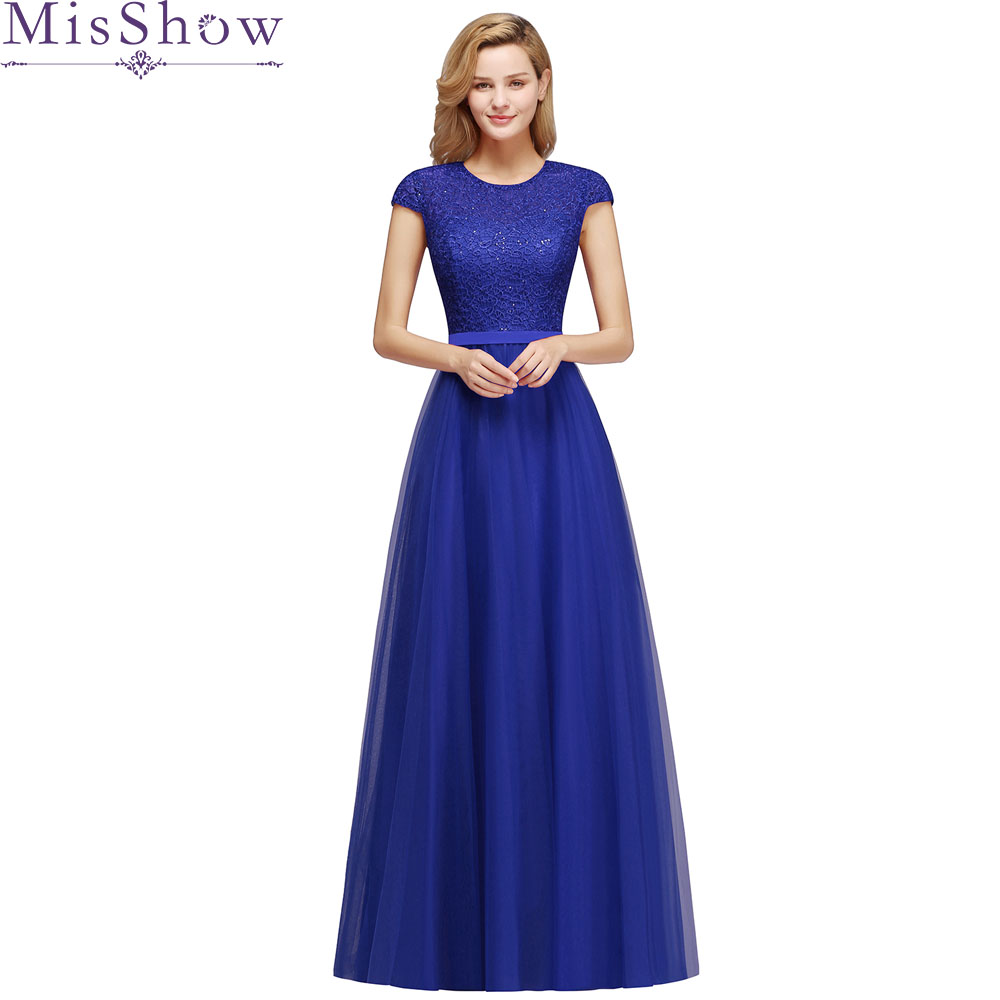 2019 Vestido De Festa Scoop Neck Cap Sleeve Vintage Lace Appliques Royal Blue Bridesmaid   Dresses   Women Long Formal Party Gowns