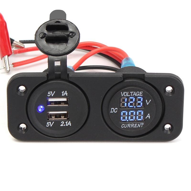 12V Dual Car Cigarette Lighter Socket 2 USB Adapter Charge Charger Display Digital Voltmeter Volt Voltage Ammeter + Screw стоимость