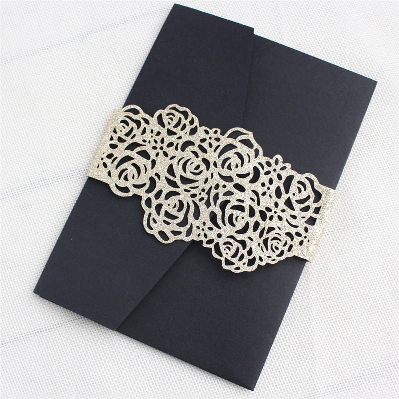 Black wedding invitations with gold belly band vintage envelop customized printing multi colors