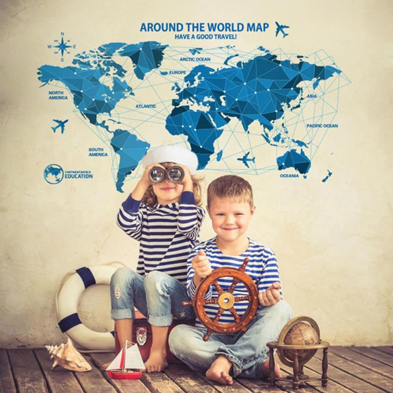 World Map 3D DIY Thicken Waterproof PVC Self Adhesive Window Wall Stickers Glass Tile Decals Home Decor